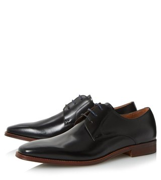 Dune London Black Leather Richmonds Derby Shoes