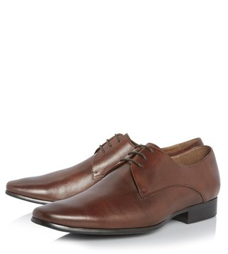 Dune London Tan Leather Rick Derby Shoes