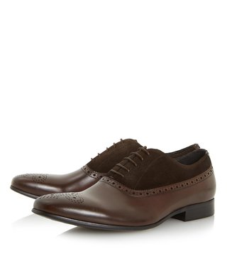 Dune London Brown-Leather Pixel Oxford Shoes