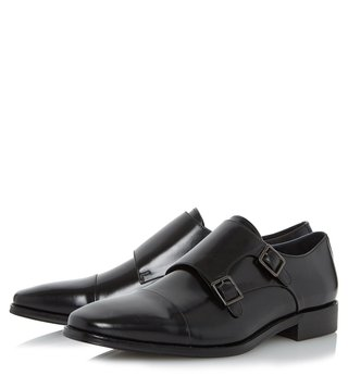 Dune London Black-Leather Putney Monk