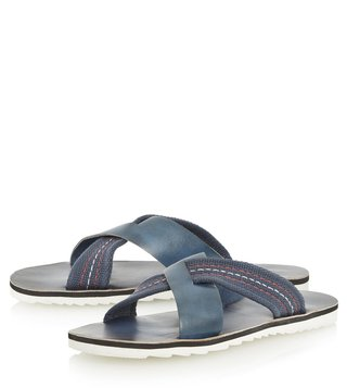 Dune London Navy-Leather Inky Sandal
