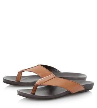 Dune London Tan-Leather Inkfish Sandal
