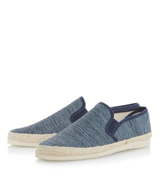 Dune London Navy Canvas Finnick Espadrille