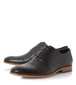 Dune London Black-Leather Padstow Oxford Shoes