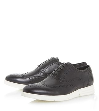 Dune London Black Leather Bungee Brogue Shoes