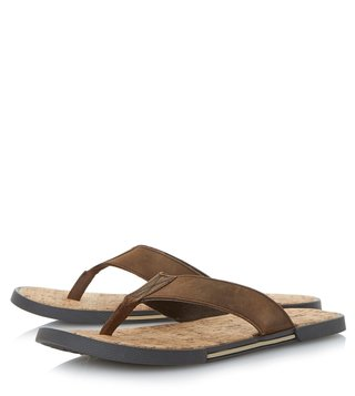 Dune London Brown-Leather Indie Sandal