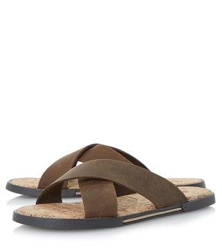 Dune London Brown-Leather Idaho Sandal