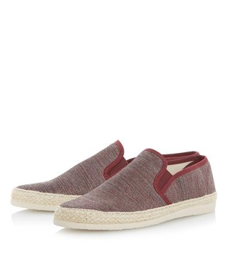 Dune London Burgundy Canvas Finnick Espadrille