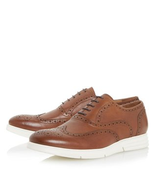 Dune London Tan Leather Bungee Brogue Shoes