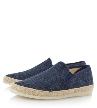 Dune London Navy Canvas Flipper Espadrille Shoes