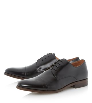 Dune London Black-Leather Rogan Derby Shoes