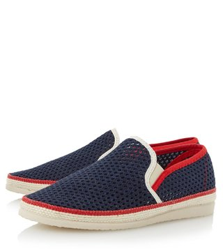 Dune London Navy Fabric Falmouth Espadrille Shoes