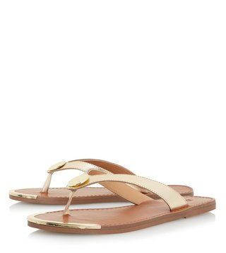 Dune London Gold Leather Lagos Thong Sandals