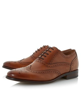 Dune London Tan Leather Rugby Brogue Shoes