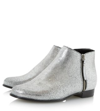 Dune London Silver Metallic Pander Booties