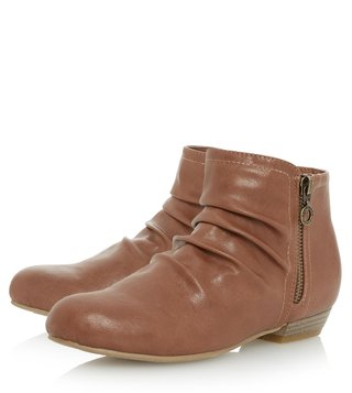 Dune London Tan Synthetic Pammy Booties