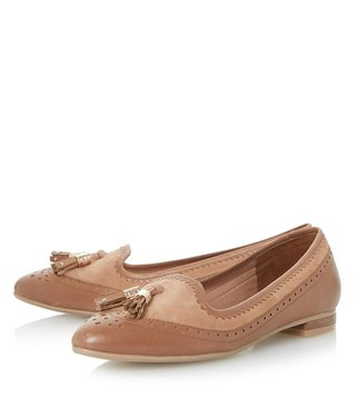 Dune London Tan Leather Gambel Loafer Shoes
