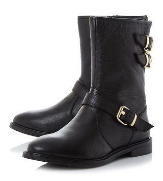Dune London Black Leather Rowen Biker Boot