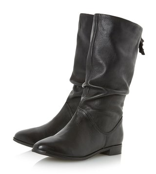Dune London Black Leather Rosalind Cowboy Boot
