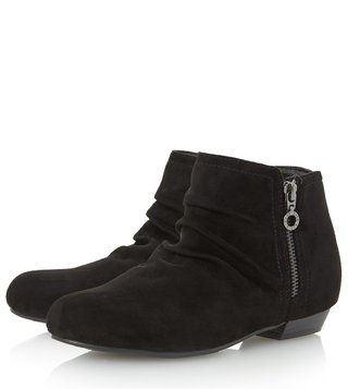 Dune London Black Micro Fibre Pammy Booties