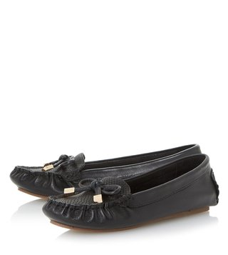 Dune London Black Leather Genovia Loafers