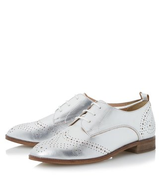 Dune London Silver Metallic Foster Brogue Shoes