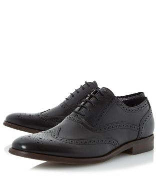 Dune London Black Leather Rugby Brogue Shoes