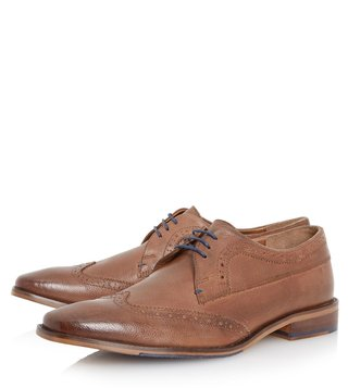 Dune London Tan Leather Rancher Brogue Shoes