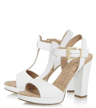 Dune London White Leather Jasmin Sling Back Sandal