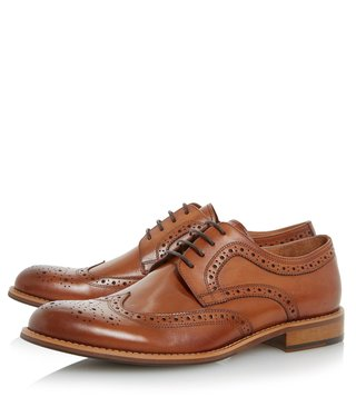 Dune London Tan Leather Radcliffe Brogue Shoes