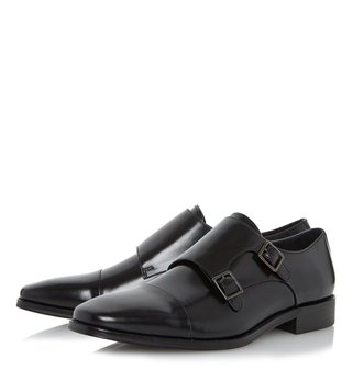 Dune London Black Leather Putney Monk