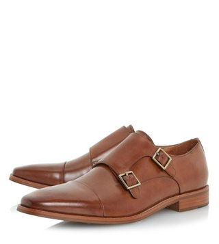 Dune London Tan Leather Putney Monk