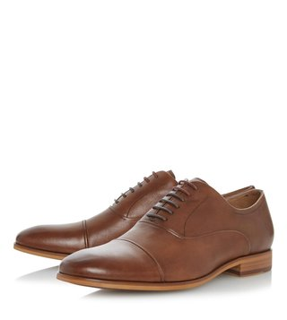 Dune London Tan-Leather Padstow Oxford Shoes