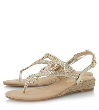 Dune London Gold Synthetic Levin Back Strap Wedge Sandal