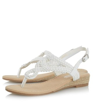 Dune London White Synthetic Levin Back Strap Wedge Sandal