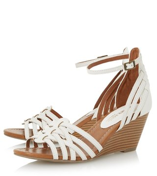 Dune London White Synthetic Kruizer Ankle Strap Wedge Sandal