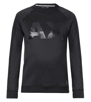 Armani Exchange Black Neoprene Raglan Logo Sweatshirt