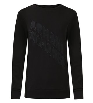 Armani Exchange Black Diagonal Action Logo Sweatshirt