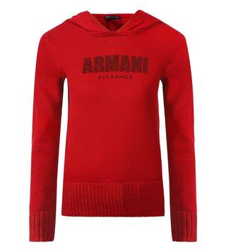 Armani Exchange Royal Red Embellished Hoodie