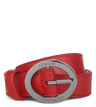 Armani Exchange Royal Red Leather Belt