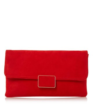 Dune London Red Suede Small Binny Clutch