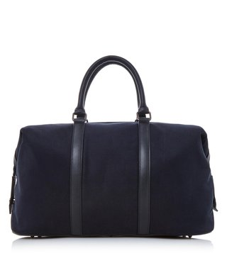 Dune London Black-Fabric Large Napolean Holdall Bag