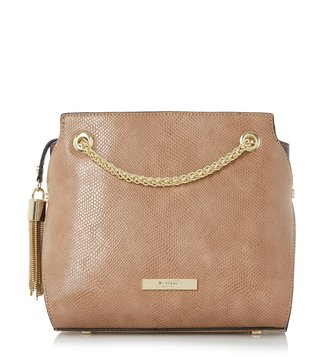Dune London Taupe Reptile Synthetic Small Dain Shoulder Bag