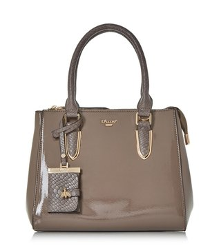 Dune London Taupe Patent Synthetic Large Denvie Shoulder Bag