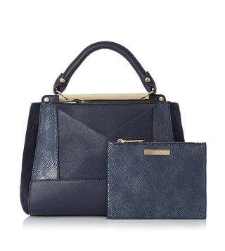 Dune London Navy Plain Synthetic Large Drayson Satchel