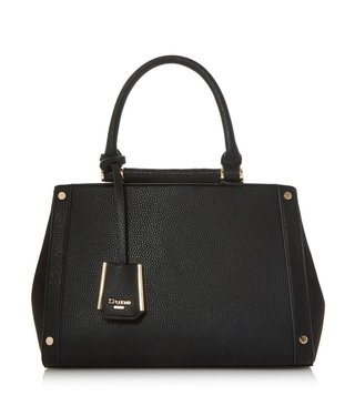 Dune London Black Synthetic Large Doltt Satchel