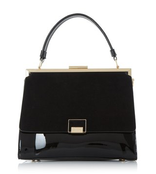 Dune London Black Patent Large Dame Satchel