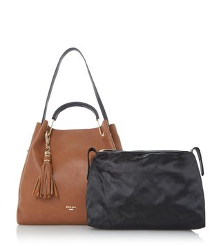 Dune London Tan Synthetic Large Daura Shoulder Bag