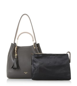 Dune London Dark Grey Large Daura Shoulder Bag