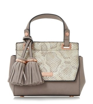 Dune London Grey Reptile Small Sunnie Micro Satchel
